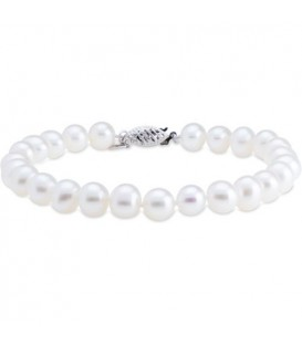Bracelets - 6-7mm Cultured Freshwater Pearl Bracelet 14Kt White Gold Clasp
