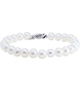 Bracelets - 7-8mm Cultured Freshwater Pearl Bracelet 14Kt White Gold Clasp