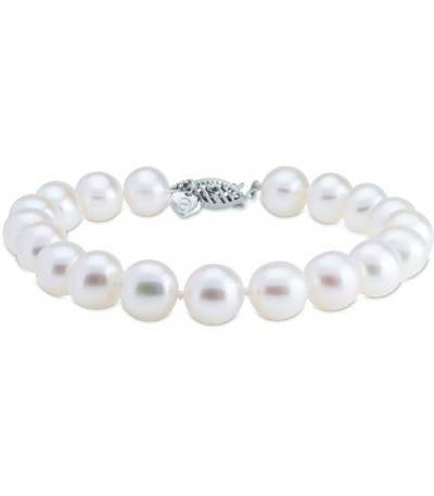 Bracelets - 9-10mm Cultured Freshwater Pearl Bracelet 14Kt White Gold Clasp