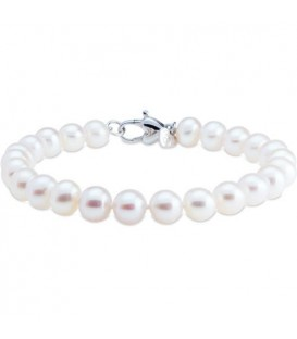 7-8mm Cultured Freshwater Pearl Bracelet 925 Sterling Silver Clasp