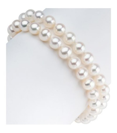 7-7.5mm Cultured Freshwater Pearl Double Strand Bracelet 14Kt White Gold Clasp