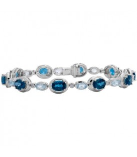 Bracelets - 12.20 Carat Blue Topaz and Diamond Bracelet 14Kt White Gold