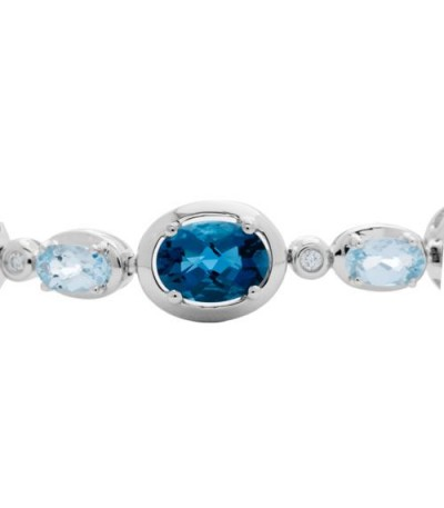 12.20 Carat Blue Topaz and Diamond Bracelet 14Kt White Gold