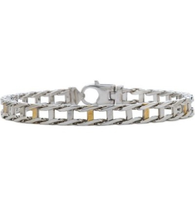 Bracelets - Railroad Link Bracelet Sterling 925 Silver and 10 Kt Gold