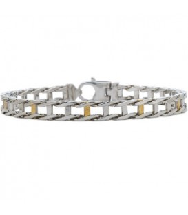 More about Railroad Link Bracelet Sterling 925 Silver and 10Kt Gold