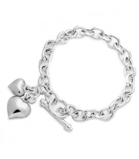 Italian Two-Heart Charm Bracelet 925 Sterling Silver