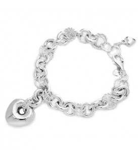 More about Italian Puffed Heart Charm Bracelet 925 Sterling Silver
