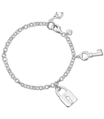 Bracelets - Italian Lock and Key Charm Bracelet 925 Sterling Silver
