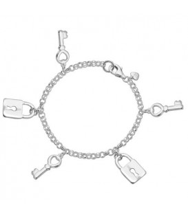 Bracelets - Italian Multi Lock and Key Charm Bracelet 925 Sterling Silver