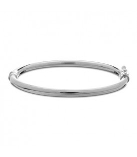 Italian Small Rounded Bangle Bracelet 925 Sterling Silver