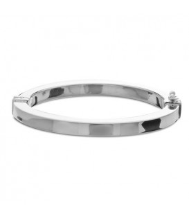 Bracelets - Italian Medium Squared Bangle Bracelet 925 Sterling Silver