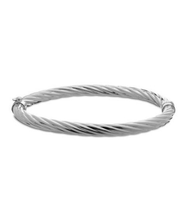 Bracelets - Italian Medium Twist Bangle Bracelet 925 Sterling Silver