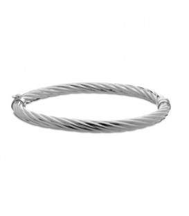 Italian Medium Twist Bangle Bracelet 925 Sterling Silver