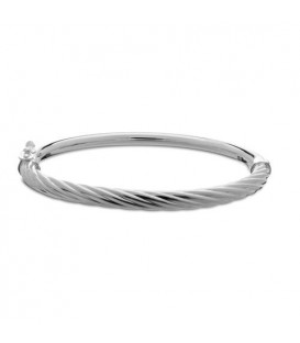 Italian Demi Twist Bangle Bracelet 925 Sterling Silver