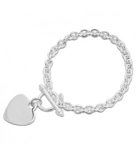 Italian Medium Heart Bracelet 925 Sterling Silver
