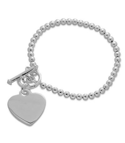 Bracelets - Italian Small Bead and Heart Bracelet 925 Sterling Silver