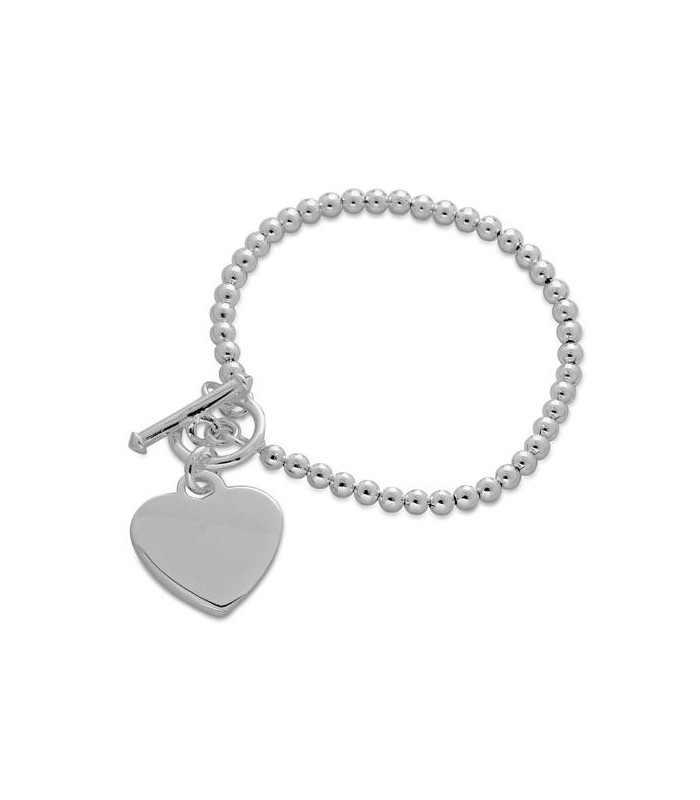 Bracelets Italian Small Bead And Heart Bracelet 925 Sterling Silver