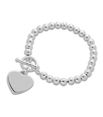 Bracelets - Italian Bead and Heart Bracelet 925 Sterling Silver