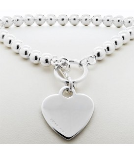 Italian Bead and Heart Bracelet 925 Sterling Silver