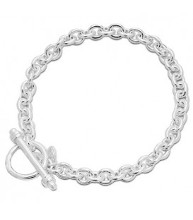 Italian Toggle Charm Bracelet 925 Sterling Silver
