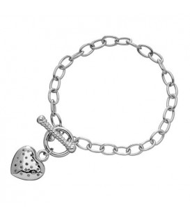 More about 0.12 Carat Diamond Heart Charm Bracelet 925 Sterling Silver