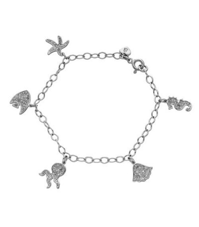 Bracelets - 0.11 Carat Diamond Children's 925 Sterling Silver Bracelet