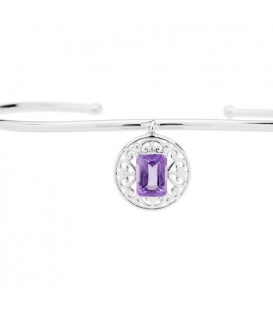 0.80 Carat Amethyst Bangle Bracelet 925 Sterling Silver