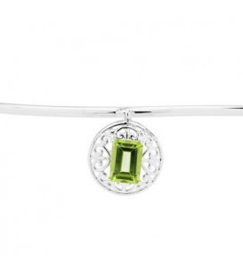 0.80 Carat Peridot Bangle Bracelet 925 Sterling Silver