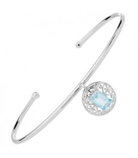 Bracelets - 0.90 Carat Blue Topaz Bangle Bracelet 925 Sterling Silver