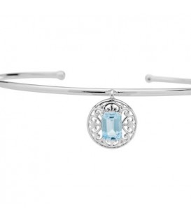 0.90 Carat Blue Topaz Bangle Bracelet 925 Sterling Silver