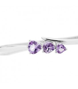 1.80 Carat Amethyst Bangle Bracelet 925 Sterling Silver