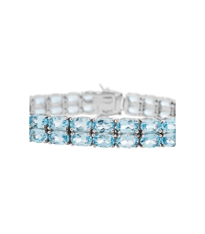 Oval Cut 28.20 Blue Topaz Bracelet 925 Sterling Silver
