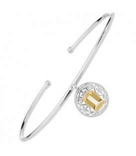 Bracelets - 0.70 Carat Citrine Bangle Bracelet 925 Sterling Silver
