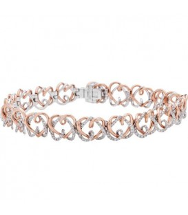 Bracelets - 2.50 Carat Diamond Bracelet 18Kt Rose and White Gold