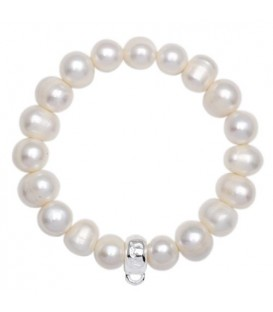 Sandals Medium Cultured Pearl Charm Bracelet 925 Sterling Silver
