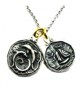 Pendants - Sandals Grande Antigua's Dolphin + Antigua Yacht Sterling Silver Necklace with a Silver Finish Chain