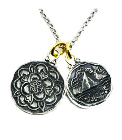 Pendants - Sandals Grande St. Lucian's Tudor Rose + St. Lucia Les Pitons Sterling Silver Necklace with a Silver Finish Chain
