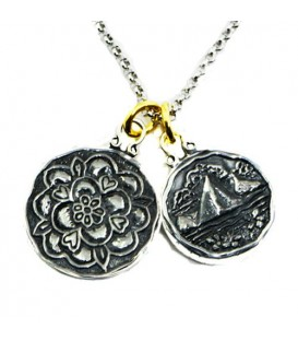 Sandals Grande St. Lucian's Tudor Rose + St. Lucia Les Pitons Sterling Silver Necklace with a Silver Finish Chain