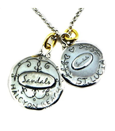Sandals Halcyon Beach's Pier Restaurant + St. Lucia Les Pitons Sterling Silver Necklace with a Silver Finish Chain