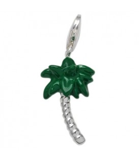 Palm Tree Clip on Charm 925 Sterling Silver