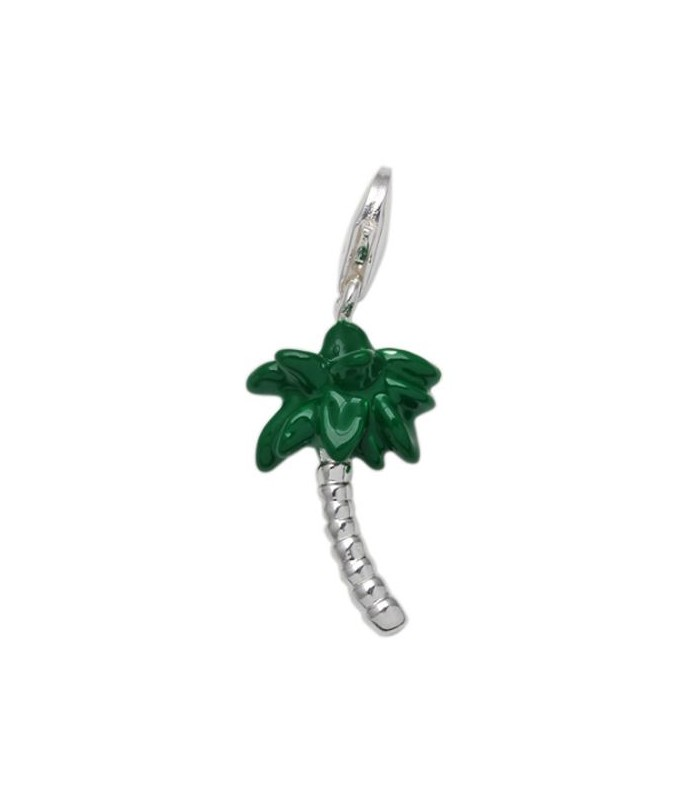 Palm Tree Clip On Charm In 925 Sterling Silver Amoro