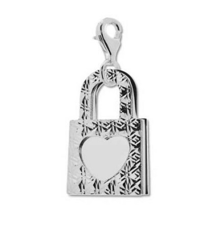 Italian Sterling silver Double Heart Lock Charm