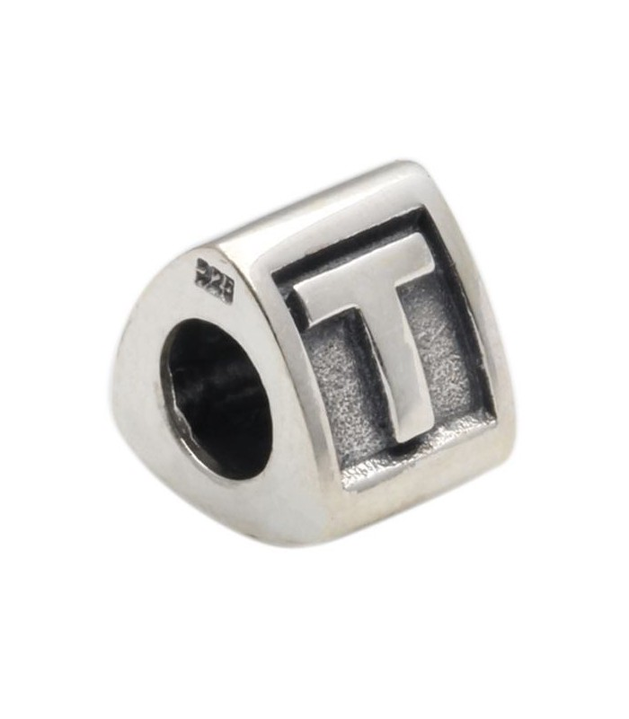 Alphabet T Bead Charm A to Z in 925 Sterling Silver