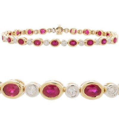 5.49 Carat Ruby and Diamond Tennis Bracelet 14Kt Yellow Gold