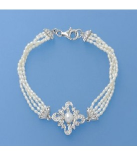 4-6.5mm Cultured Freshwater Pearl Bracelet 925 Sterling Silver Clasp