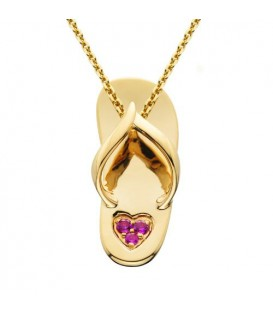 More about 0.05 Carat Round Cut Pink Sapphire Sandal Pendant 14Kt Yellow Gold