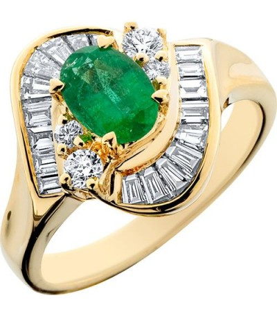 Rings - 1.40 Carat Exclusive Oval Cut Emerald and Diamond 14Kt Yellow Gold Ring