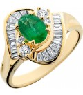 1.40 Carat Exclusive Oval Cut Emerald and Diamond 14Kt Yellow Gold Ring