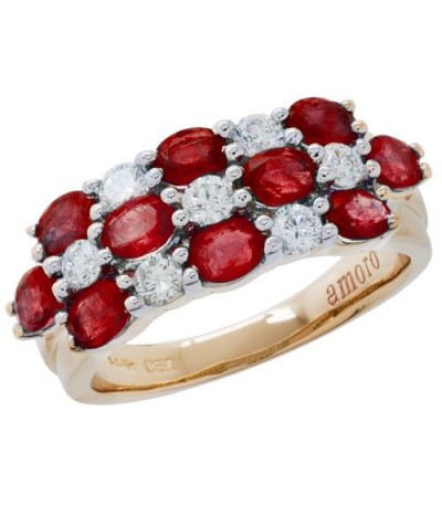 Rings - 2.30 Carat Stylish Oval Cut Ruby and Diamond 14kt Yellow Gold Ring