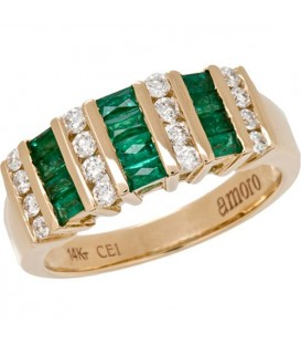 Rings - 0.76 Carat Stylish Fancy Cut Emerald and Diamond 14Kt Yellow Gold Ring